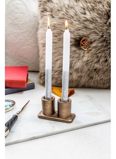 Arma House 4'lü Modern Bakır Mumluk & 4'lü Gümüş Mum Renkli